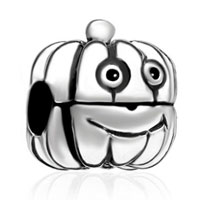Charms Beads - silver cartoon jackolantern halloween pumpkin guy clip lock stopper Image.