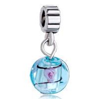Charms Beads - pink rose in translucent blue murano glass charm bracelet dangle Image.