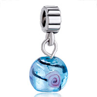 Charms Beads - silver foil blue dangle european bead charms bracelets murano glass Image.