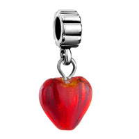 Charms Beads - silver murano glass red heart lover charm bracelet spacer dangle Image.