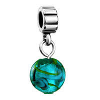 DPC0769: silver turquoise sea life charm spacers dangle murano glass beads Image.