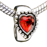 Charms Beads - garnet heart crystal fit all brands beads charms bracelets Image.