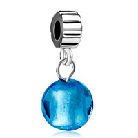 Charms Beads - silver pure blue ball murano glass charm bracelet spacers dangle Image.
