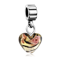 Murano Glass Jewelry - amber heart rose flower faceted charm bracelet spacers dangle Image.