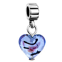 Charms Beads - silver turquoise heart charm spacers dangle murano glass beads Image.