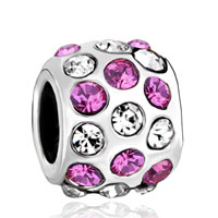 Charms Beads - silver pink rhinestone european infant charm bead charms bracelets Image.