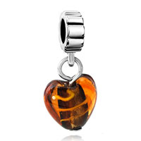 Charms Beads - amber heart lampwork faceted murano glass charm bracelet spacer dangle Image.