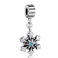 Charms Beads - blue swarovski crystal christmas charm bracelet snowflake dangle Image.