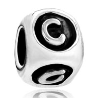 Charms Beads - dice shaped letter initial c alphabet for beads charms bracelets fit all brands Image.