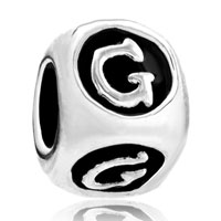 Charms Beads - dice shaped letter bracelet charms initial g alphabet european bead Image.