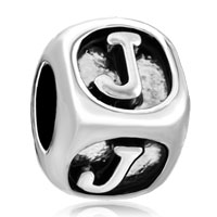 Charms Beads - dice shaped letter bracelet charms initial j charm alphabet beads Image.