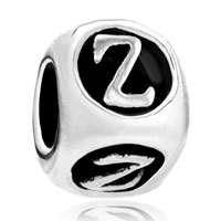 Charms Beads - dice shaped letter bracelet charms initial z alphabet european bead Image.