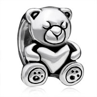 Charms Beads - sleeping little teddy care bear charm bracelet heart forever love bead Image.