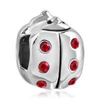Charms Beads - authentic red crystal ladybug charm bracelet bead charms charms Image.