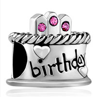 DPC1482: happy birthday cake hot pink october births bead charmcharm bracelet Image.