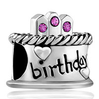 Charms Beads - february s birthday cake purple crystal candles holiday bead charm Image.