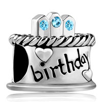Charms Beads - march s birthday cake aquamarine crystal candles holiday bead charm Image.