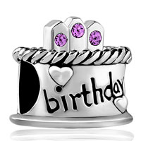 Charms Beads - june birthday cake alexandrite amethyst crystal candles lucky charm Image.