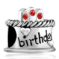 Charms Beads - july s birthday cake red crystal candles holiday bead charm bracelet Image.