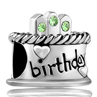 Charms Beads - august s birthday cake peridot crystal candles holiday bead charm Image.