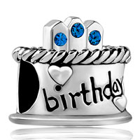 Charms Beads - september s birthday cake sapphire crystal candles holiday bead charm Image.