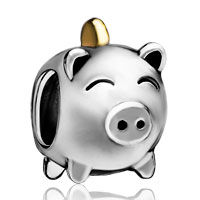 Charms Beads - silver plated pig money box european bead charm bracelets for women Image.