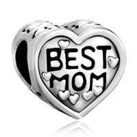 Charms Beads - silver heart charm bracelet best mom european infant charm bead Image.
