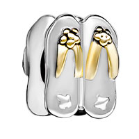 DPC1627: silver plated stylish flip flop european bead charms bracelets Image.