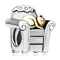 Charms Beads - silver cat charm bracelet in chair charm fit all brands bracelet Image.
