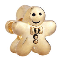 Charms Beads - 20k gold gingerbread man cookie european bead charms bracelets Image.