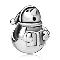Charms Beads - silver snowman and book infant beads charms bracelets fit all brands Image.