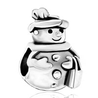 Charms Beads - silver plated s snowman dressed up european bead charms bracelets Image.