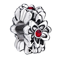 Charms Beads - silver plated garnet floral european bead charms charms bracelets Image.