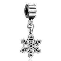 Teens & Kids Jewelry - silver plated snowflake plate charm bracelet spacer dangle bracelet Image.