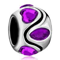 Charms Beads - february births purple crystal heart charm stripes symmetric gift Image.
