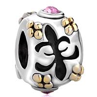 Charms Beads - silver pink swarovski element crystal fleur de lis charm bracelet Image.