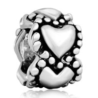 Charms Beads - silver plated heart charm bracelet spacer european bead pattern Image.