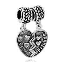 Charms Beads - silver best friend charm bracelet combined heart european bead Image.