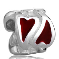 Charms Beads - silver red heart charm bracelet european bead european bead & charm Image.