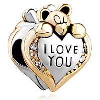 Silver I Love You Heart Care Bear Charm Bracelet Charm European Bead
