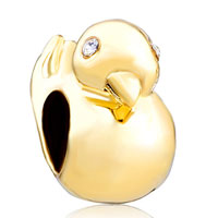 Charms Beads - silver plated golden duck animal charms for bracelets european bead Image.