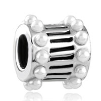 Charms Beads - european bead white pearl charm bracelet cylinder charm european bead Image.