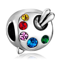 Charms Beads - artist's palette paintbrush silver crystal beads charms bracelets Image.