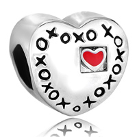 Charms Beads - red heart charm bracelet xoxo hugs & kisses love charm european bead Image.