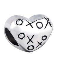 Charms Beads - silver plated hugs & kisses xoxo heart charm bracelet european bead Image.