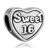 Charms Beads - silver plated heart charm bracelet words sweet 16 european bead Image.