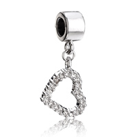Charms Beads - silver crystal open heart charm bracelet dangle silver european bead Image.