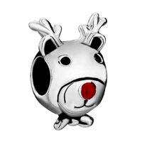 Charms Beads - silver plated cartoon deer red nose european bead charms bracelets Image.