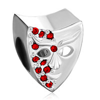 Charms Beads - garnet red bling swarovski crystal mask beads charm bracelet jewelry Image.