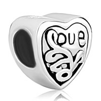 Sterling Silver Jewelry - jewelry 925  sterling silver engraved heart love beads charms bracelets fit all brands Image.